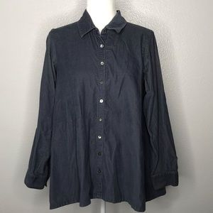 J Jill Corduroy Tunic Top S Button Down Loose Fit